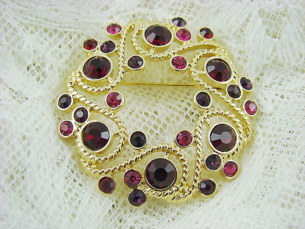 Sparkling Ruby Red Rhinestone Brooch by Napier