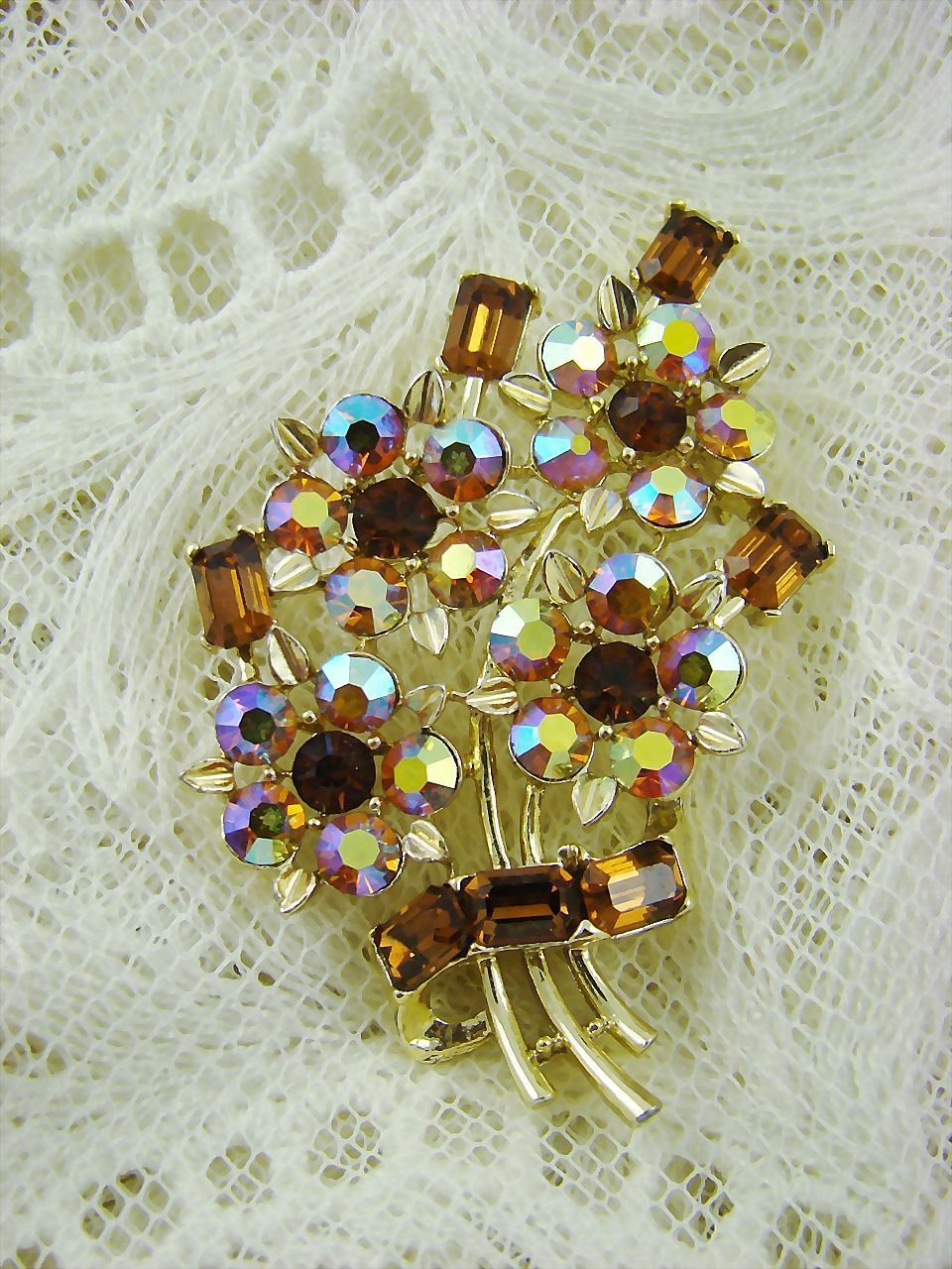 Topaz and Aurora Borealis Bouquet Brooch
