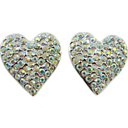 Dazzling Judy Lee Heart Rhinestone Evening Earrings
