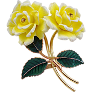 GES Gesch Yellow Celluloid Double Rose Brooch