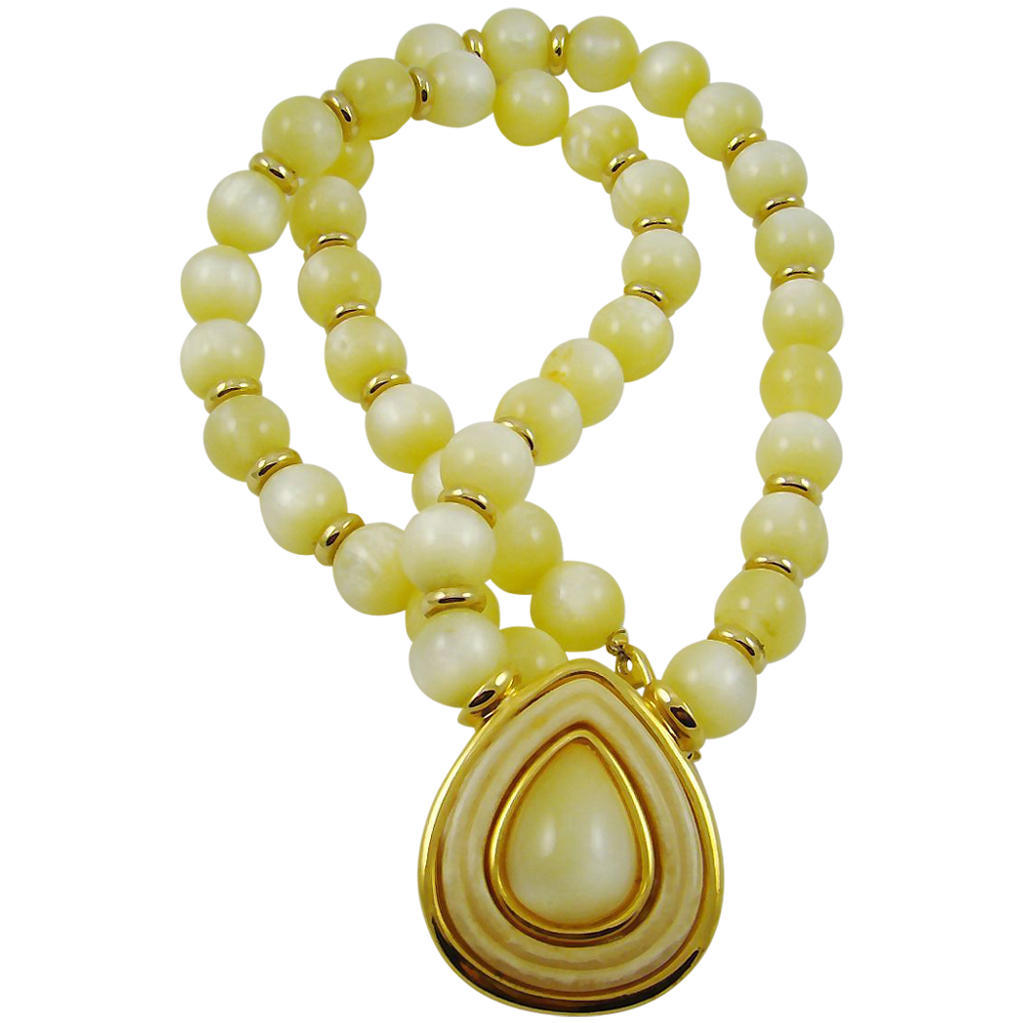 Napier Beautiful Yellow Moonglow Bead Necklace with Pendant