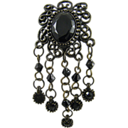 Black Glass and Filigree Mourning Brooch