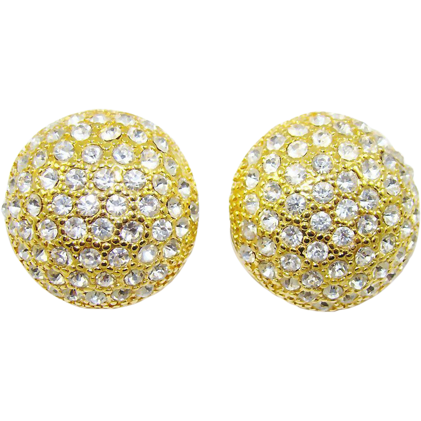 blanca swarovski crystal button earrings from
