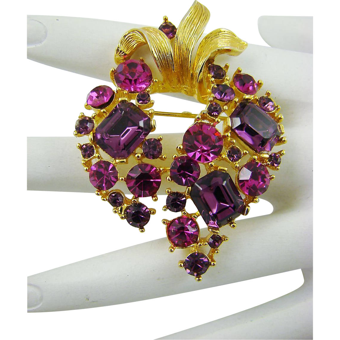 Fuchsia and Amethyst Rhinestone Brooch by M. Jent
