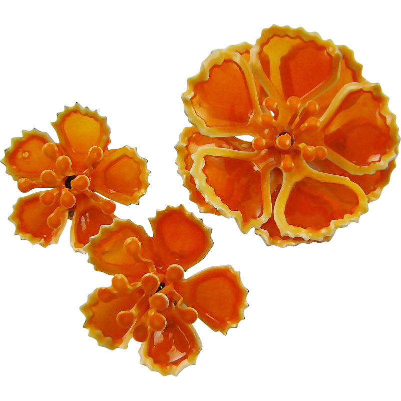 mid century tangerine transparent poured plastic demi parure sold on ruby lane. Black Bedroom Furniture Sets. Home Design Ideas