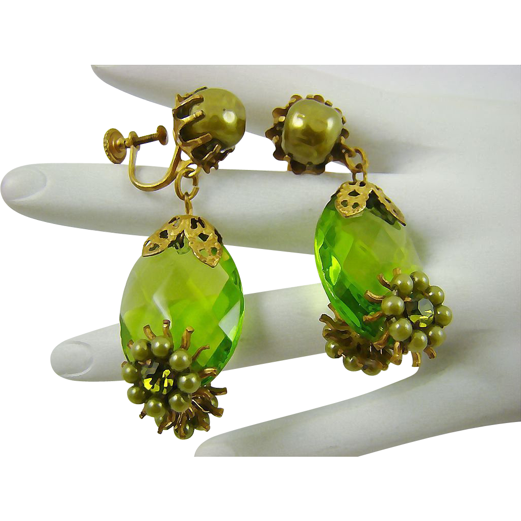 Haskell Style Green Glass Earrings with Imitation Pearls