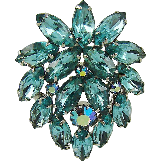 Juliana Aqua and Aurora Borealis Rhinestone Brooch