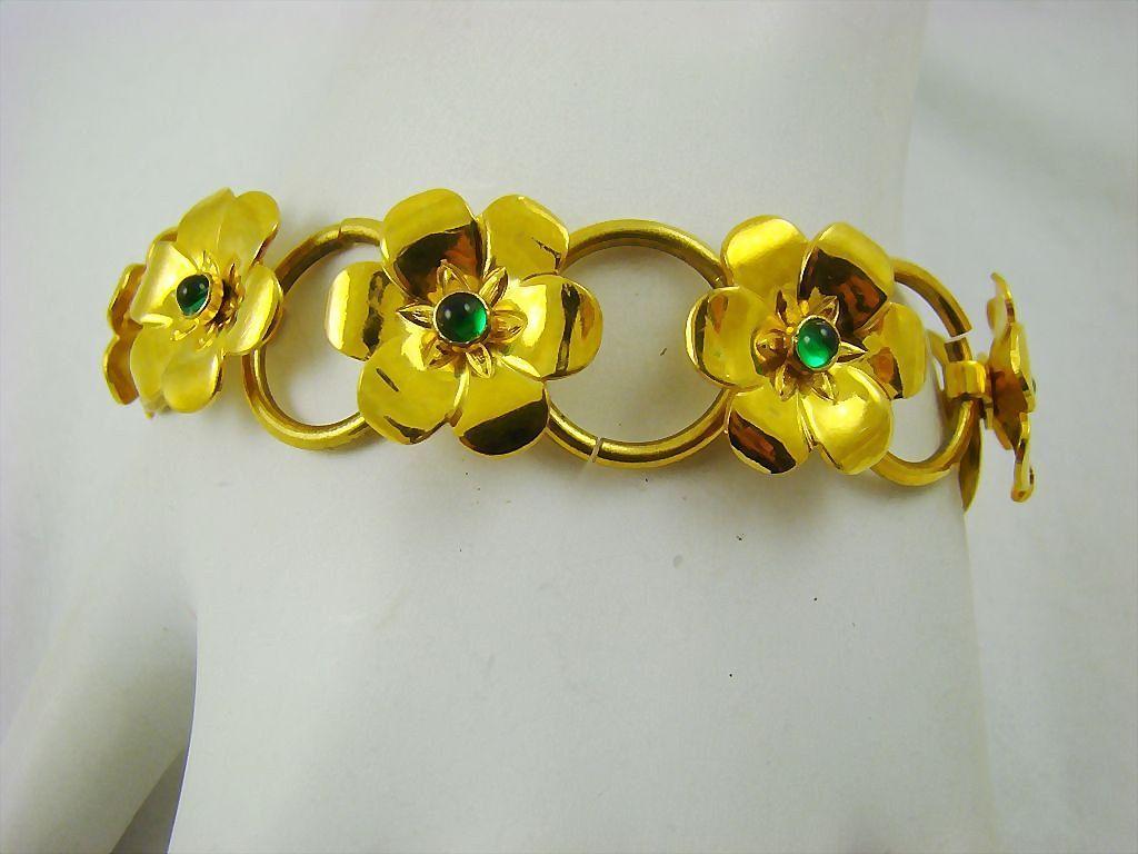 bright gold tone art deco flower bracelet with emerald green cabochons vintage veranda ruby lane. Black Bedroom Furniture Sets. Home Design Ideas