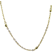 Delicate Emmons Gold Tone Chain and Bead Necklace