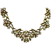 Elegant Florenza Imitation Pearl and Red Aurora Borealis Rhinestone Bib Necklace