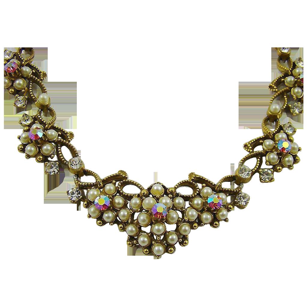 Elegant Florenza Imitation Pearl and Red Aurora Borealis Rhinestone Bib Necklace
