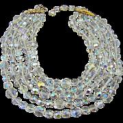 Brilliant Sparkling Castlecliff Aurora Borealis Crystal 5-Strand Necklace