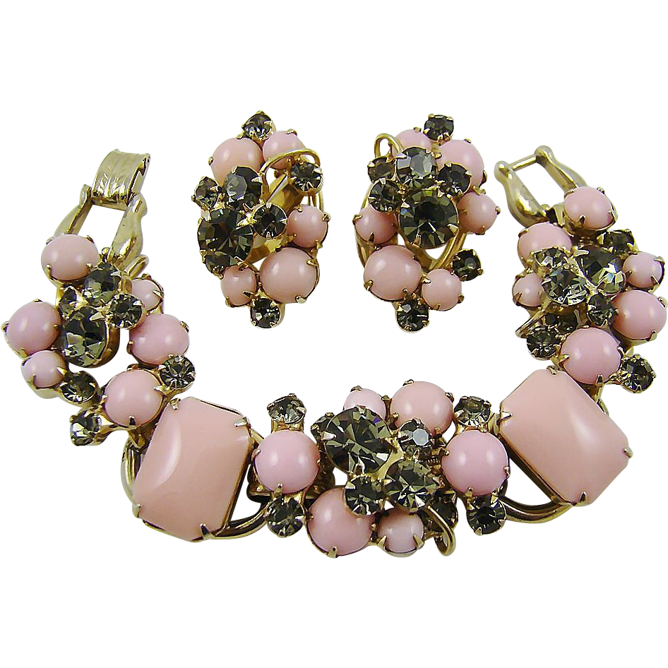 Glamourous Juliana Pink Milk Glass and Smoke Rhinestone Demi Parure