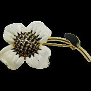White and Black  Enamel and Jet Black Rhinestone Flower Brooch