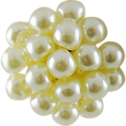 White Imitation Pearl Lucite Cluster Earrings
