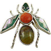 Sterling Wasp Brooch/Pendant with Coral, Turquoise, Abalone and Nephrite Jade