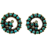Zuni Indian Turquoise Petit Point Sterling Earrings