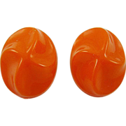 Germany Tangerine Molded Lucite Earrings