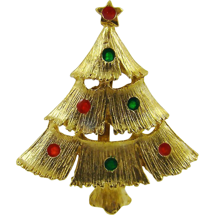 Enameled Lights on Gold Tone Christmas Tree Brooch