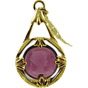 Avon Amethyst Glass Cameo Pendant and Chain