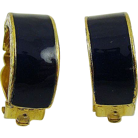 David Hill Navy Enamel Half Hoop Earrings