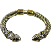 Heavy Silver Tone and Gold Tone Cuff Bracelet