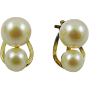 Double Imitation Pearl Clip Earrings