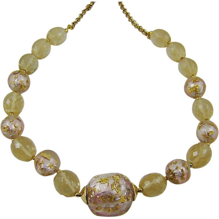 Pink and Gold Tone Foiled Bead Necklace