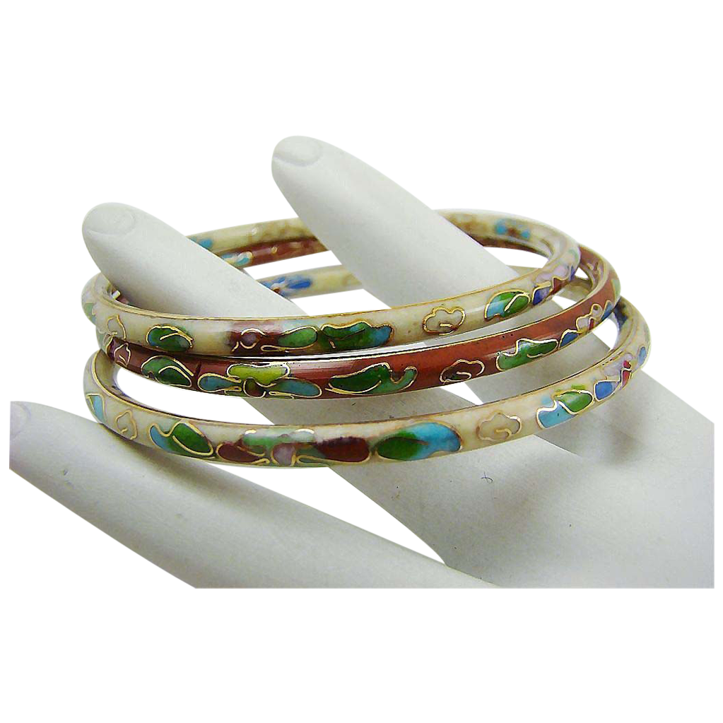 Set of Three Cloisonne Bangle Bracelets
