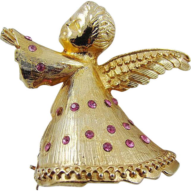 Dodds Christmas Angel Brooch with Pink Rhinestones