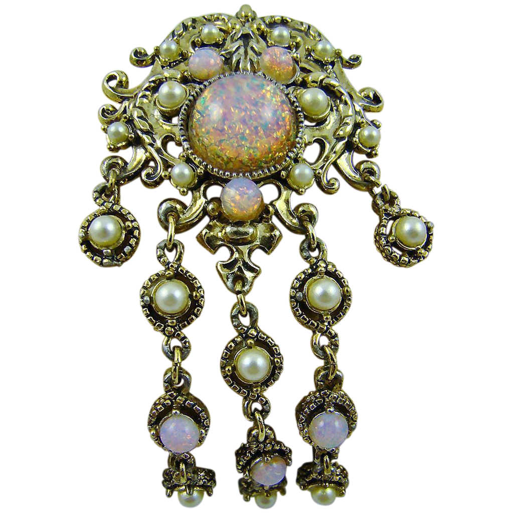 Hollycraft Fiery Foiled Faux Opal and Imitation Pearl Brooch/Pendant
