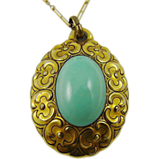 Art Deco Bavarian Porcelain Medallion Pendant and Necklace ~ Robin's Egg Blue