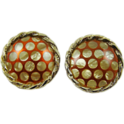 Sienna Red Enamel with Mother of Pearl Polka Dot Earrings
