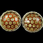Sienna Red Enamel with Mother of Pearl Polka Dot Earrings