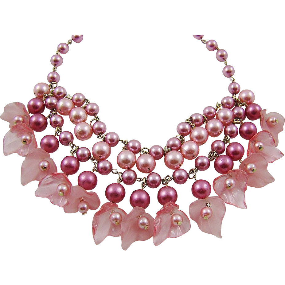 Mauve and Pink Imitation Pearl Bib Necklace/Choker