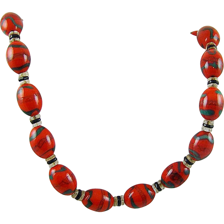 Stunning 1930s Red and Green Art Glass Necklace/Choker