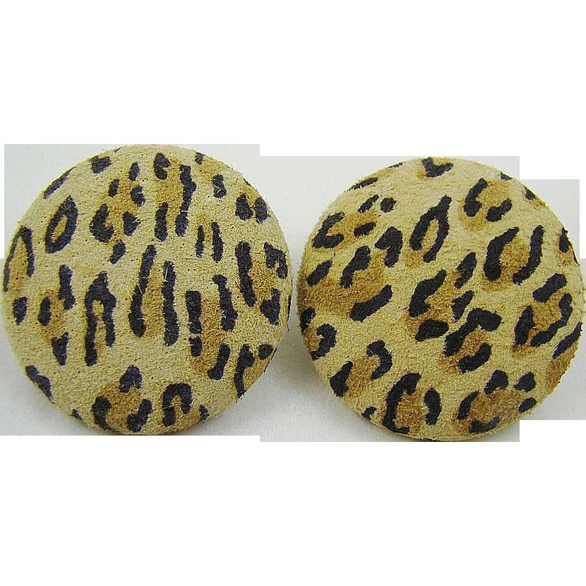 Faux Suede Leopard Style Print Button Earrings