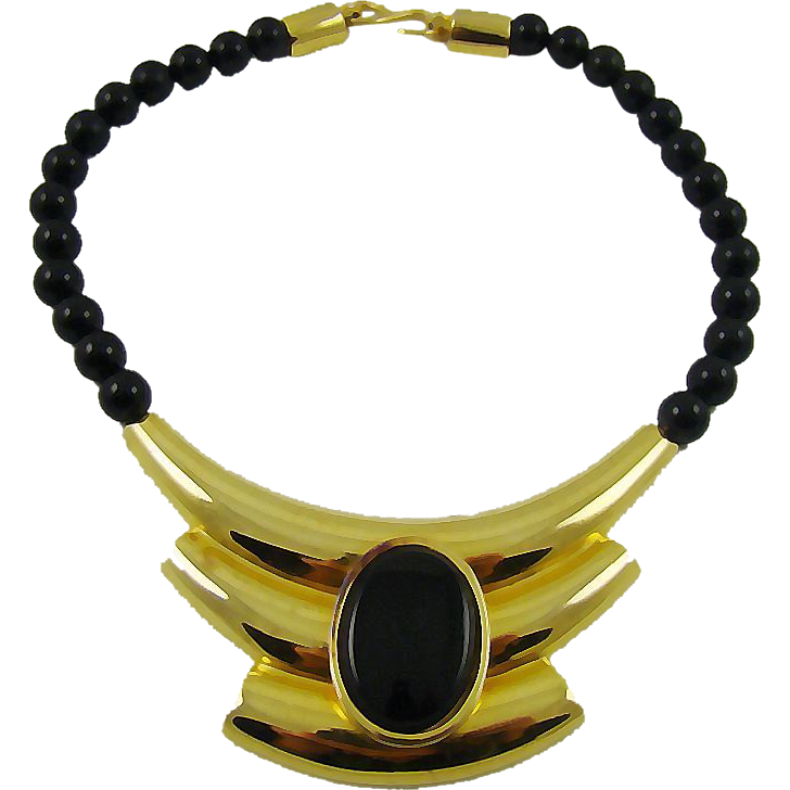 Alexis Kirk Modernist Black Bead & Gold Tone Necklace