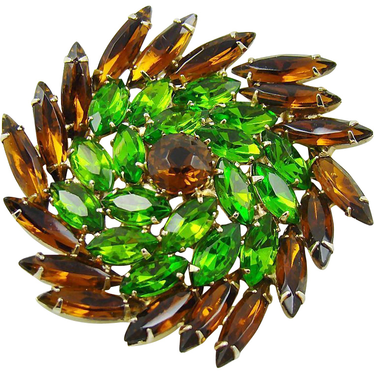 Juliana Topaz and Dark Peridot Wreath Brooch