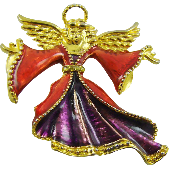 Christopher Radko Purple and Red Christmas Angel Brooch