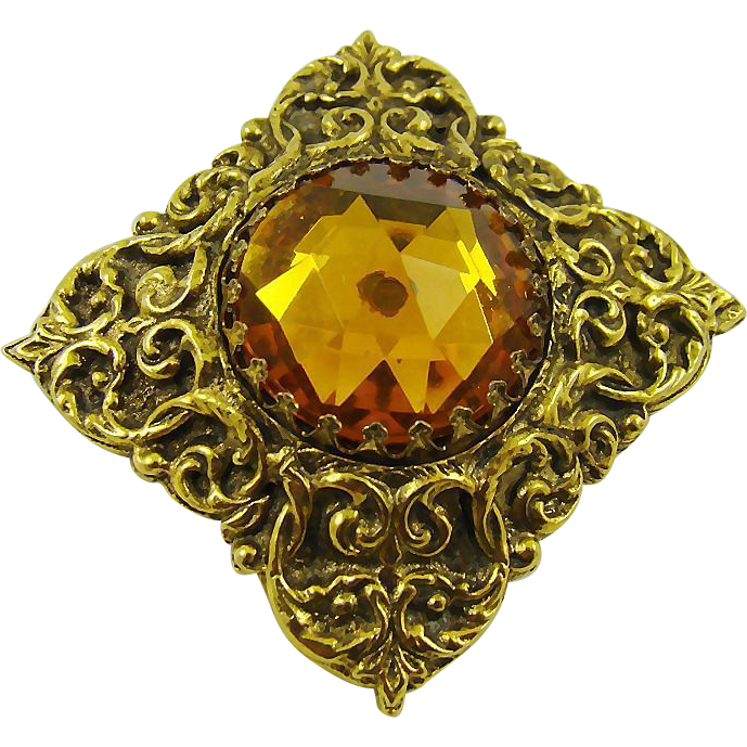 Victorian Style Amber Colored Glass Brooch by Mr WE