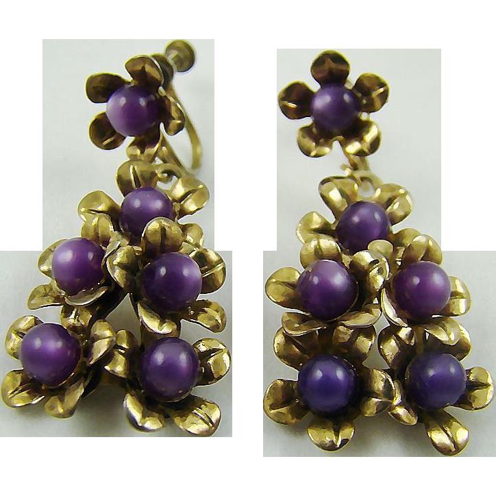 1940s Purple Moonglow Bead Drop Earrings
