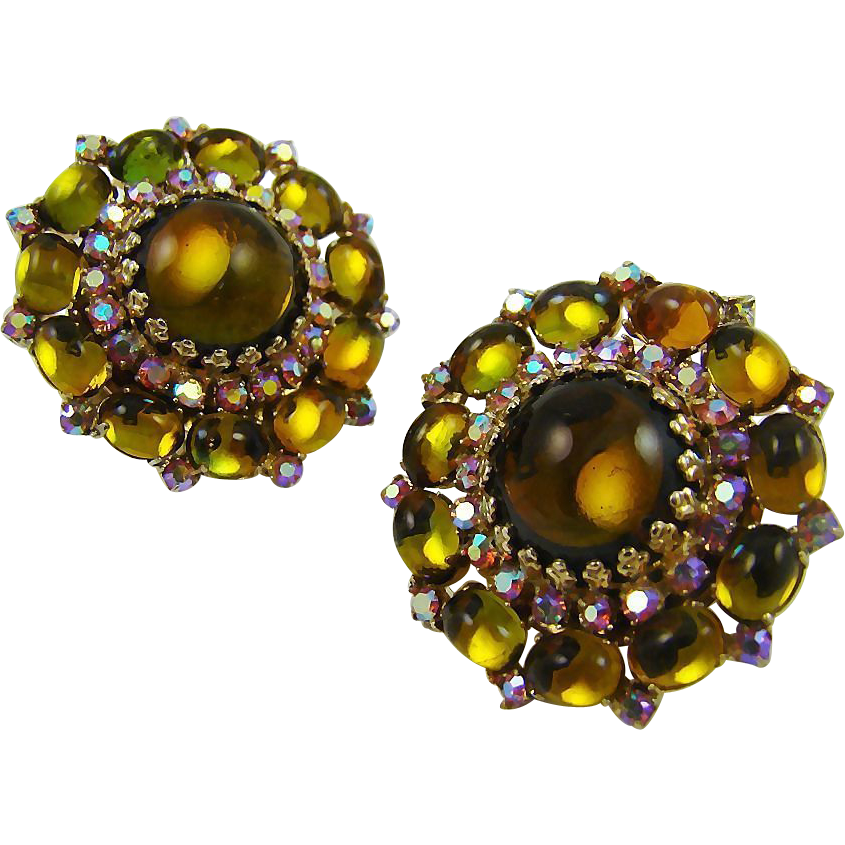 Vendome Olivine and Amber Glass Earrings