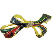 Red, Green, Blue and Black Enamel Rhinestone Bow Brooch
