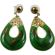 Emerald Green and Glitter Gold Tone Swirl Enamel Teardrop Earrings