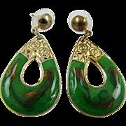 Emerald Green and Glitter Gold Tone Swirl Enamel Teardrop Earrings