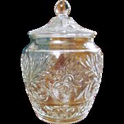 Pressed Patterned Glass Cookie Jar