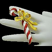 Pretty Christmas Candy Cane Brooch by Mylu