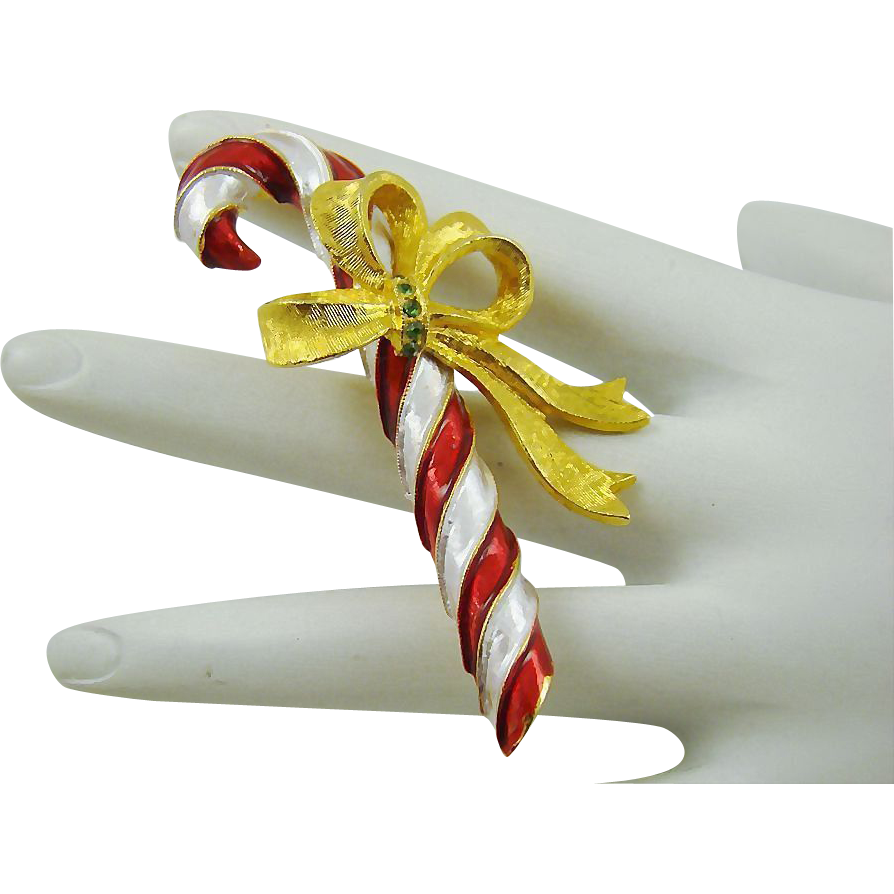 Pretty Christmas Candy Cane Brooch by Mylu
