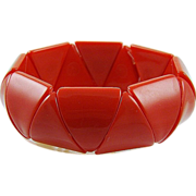 Lipstick Red Lucite Triangle Expansion Bracelet